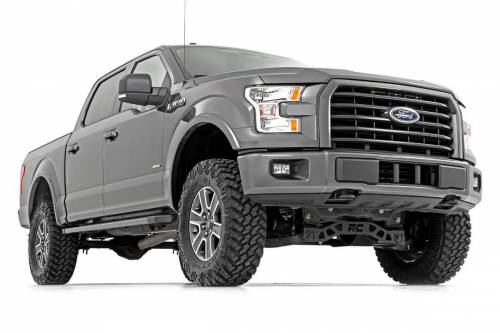 Rough Country Suspension - 55571 | 4 Inch Ford Suspension Lift Kit w/ Lifted Struts, V2 Monotube Shocks