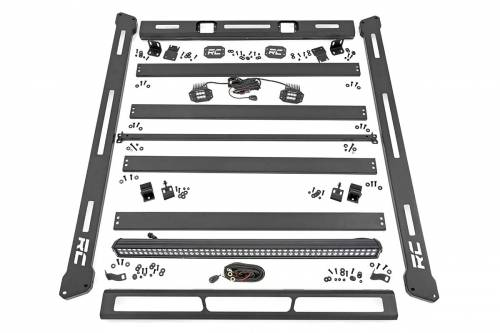 Rough Country Suspension - 10615 | Jeep Roof Rack System w/ LED Lights
