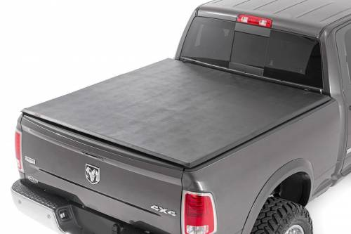 Exterior - Bed / Tonnea Covers - Rough Country Suspension - 44307550 | Dodge Soft Tri-Fold Bed Cover | 5ft 5in Bed