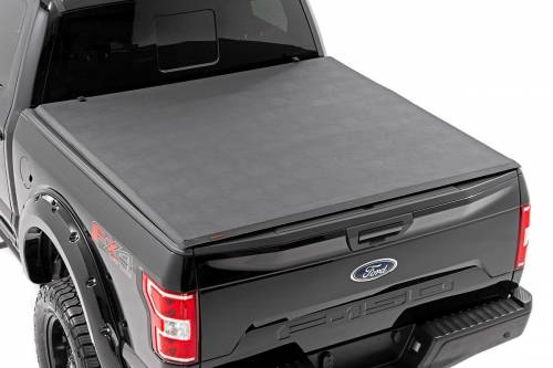 Exterior - Bed / Tonnea Covers - Rough Country Suspension - 44509550 | Ford Soft Tri-Fold Bed Cover | 5ft 5in Bed