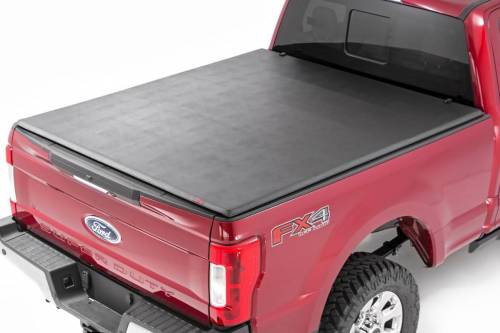 Exterior - Bed / Tonnea Covers - Rough Country Suspension - 44599650 | Ford Soft Tri-Fold Bed Cover | 6ft 5in Bed