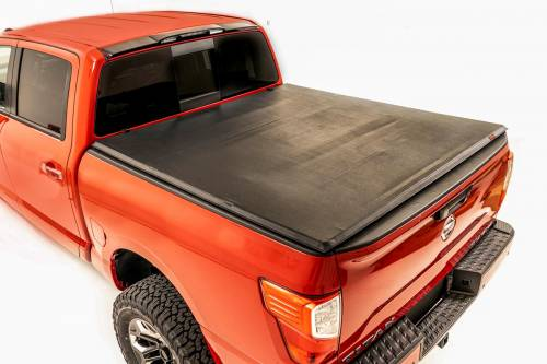 Exterior - Bed / Tonnea Covers - Rough Country Suspension - 44816550 | Nissan Soft Tri-Fold Bed Cover | 5ft 6in Bed