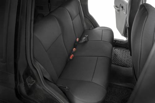 Interior - Seat Covers - Rough Country Suspension - 91021 | Jeep Neoprene Seat Cover Set | Black