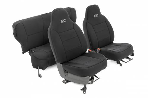 Interior - Seat Covers - Rough Country Suspension - 91022 | Jeep Neoprene Seat Cover Set | Black