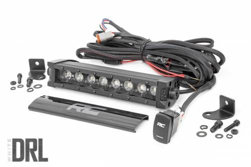 Lighting - Off-Road LED Lights - Rough Country Suspension - 70718BLDRL | 8 Inch CREE LED Light Bar | Black Series w/ Cool White DRL
