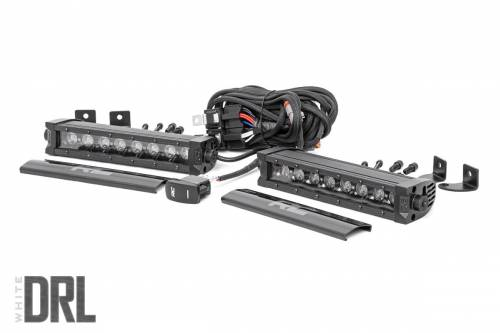 Lighting - Off-Road LED Lights - Rough Country Suspension - 70728BLDRL | 8 Inch CREE LED Light Bars | Black Series w/ Cool White DRL