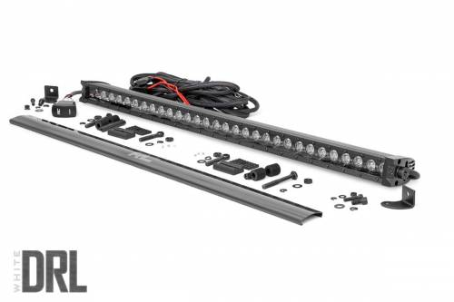 Lighting - Off-Road LED Lights - Rough Country Suspension - 70730BLDRL |  30 Inch CREE LED Light Bar | Black Series w/ Cool White DRL
