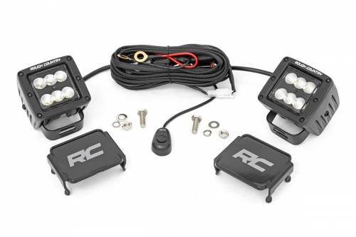 Lighting - Off-Road LED Lights - Rough Country Suspension - 70133BL |  2 Inch Square Cree LED Lights | Black, Flood Beam