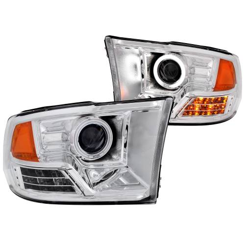 Lighting - Headlights - Anzo USA - 111160 | Dodge Projector LED Headlights - Clear Lens, Chrome Housing