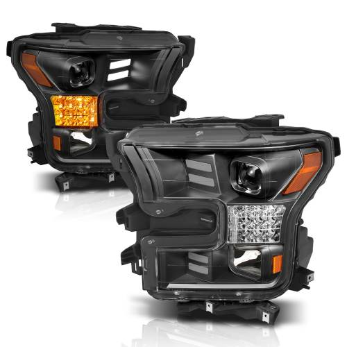 Anzo USA - 111408 | Projector Headlights w/ Plank Style Design Black w/ Amber Sequential Turn Signal