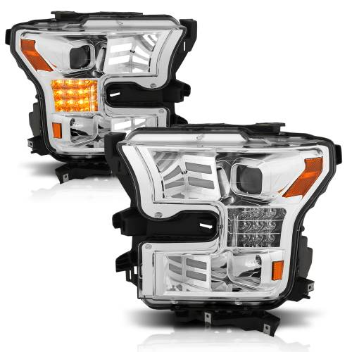 Anzo USA - 111409 | Projector Headlights w/ Plank Style Design Chrome w/ Amber Sequential Turn Signal